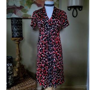 Elie Tahari Red Leopard Print Silk Dress